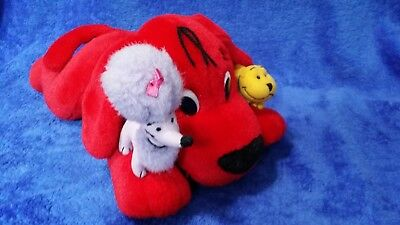 """Clifford the Big Red Dog 15"""" Plush Doll Toy with Cleo & T-Bone 2002 Scholastic"""