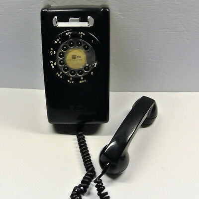 Vintage Black Rotary Bell/Northern Electric Wall Phone Telephone Hard Wired