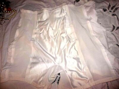 Vtg Real Satin Shiny Plus Full Figure 6X 7X Lacy Garters Nip Tuck Zip Up Girdle
