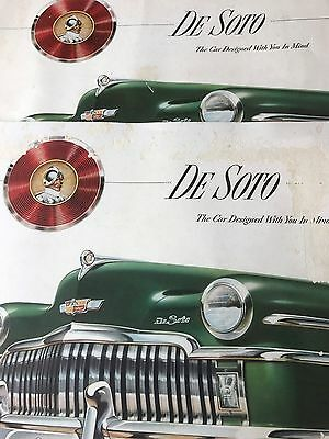 "Lot of Two 1949 DeSoto Full Line Sales 13"" x 10"" Brochures Original"
