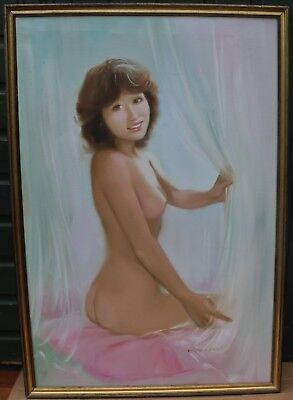 Large Gilt Framed Painting On Canvas Of Beautiful Nude Lady Signed