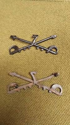 Pre WWI-WWI US Army Officer 7th Cavalry Insignia Pins, One Pair