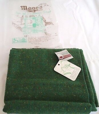 Vintage Handwoven Magee Donegal Heather Tweed Green Fabric WOOL