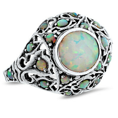 Antique Victorian Style 925 Sterling Silver Lab Opal Ring Size 9,           #760