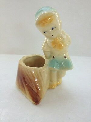Vtg Shawnee Ceramic Pottery Planter Boy In Blue 533 Tree Stump  USA