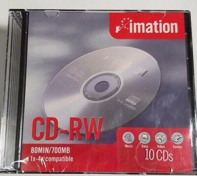 Imation CD RW 10 CDs with clear cases 80 min 700MB 1x-4x compatible (F732)