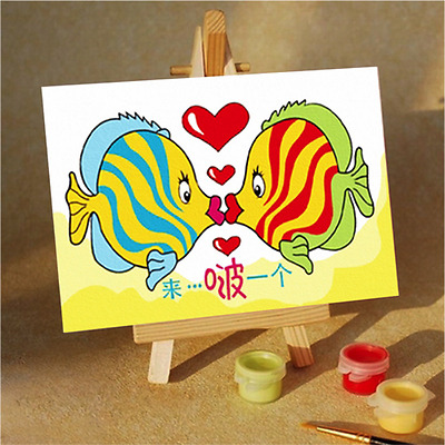 Fun and Educational Kids Painting by Numbers Kit - 10x15cm - Two Fish Kissing
