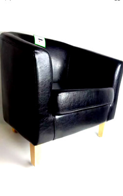 Chair Bonded Leather Tub Living Room Armchair Dining Office Reception Black New