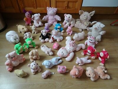Bundle Of 35 Large & Small Plush Soft PIGS 10 ins High max - inc. BRIDE & GROOM