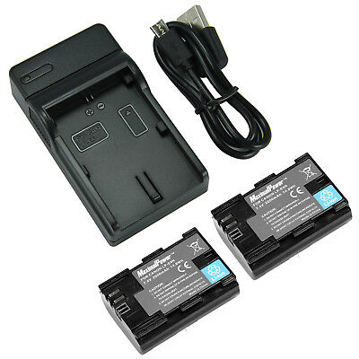 TWO BATTERIES + CHARGER Combo LP-E6 EOS 5D Mark III II 7D 60D Camera Battery X2