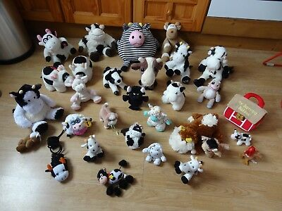 Bundle Of 28 Large & Small Plush Soft COWS 10 ins High max - inc Big Striped Cow