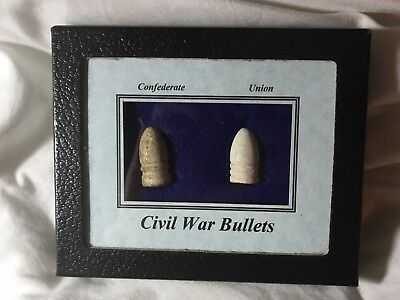 Civil War Bullet set In Display Case Union and Confederate!