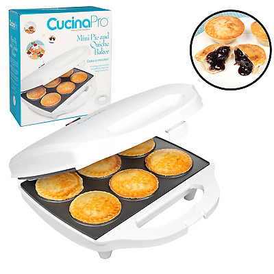 Mini Pie Maker & Quiche Pie Baker Non Stick Cooks 6 Small Pies & Quiches - White
