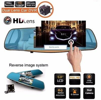 "HD 1080P In-Car Rear View Mirror 5.0"" Monitor Dash Cam Dual lens latest **2017**"