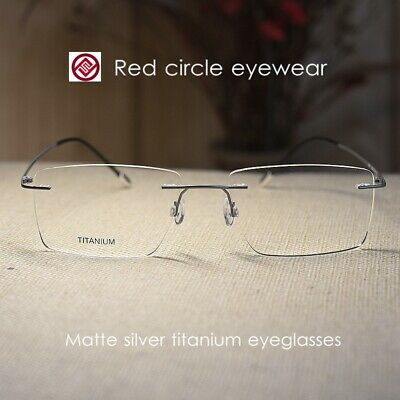 54mm pure titanium Eyeglass Frame rimless silver mens Spectacle Optical RX-able