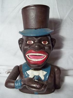 Cast Iron Black Americana Jolly Negro Top Hat Je Stevens Mechanical Bank 1896