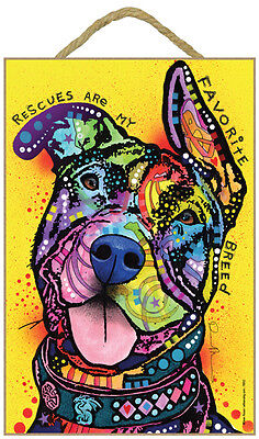 Pit Bull Rescues Are My Favorite Breed Dog Dean Russo Wood Plaque Sign