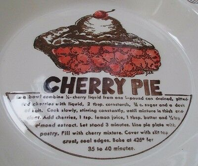 Cherry Pie Dish with Recipe Baking Vintage 80s Red Slice Ala Mode Picture Glazed