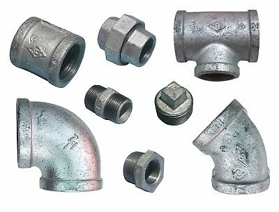 "Galvanised Screwed Malleable Iron Pipe Fittings 1/2"" -1"" -1 1/4""- 1 1/2"" - 2"""