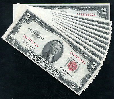 (10) Consecutive 1953-A $2 Red Seal Legal Tender United States Notes Unc