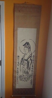 Chinese Scroll Drawing Ink On Paper With Poem Calligraphy And Artists Stamp.