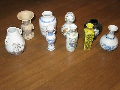 Japanese Vase Lot of 9 Small Miniature