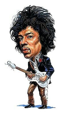 Jimi Hendrix Caricature #2 60's Psychedelic Rock Sticker or Magnet