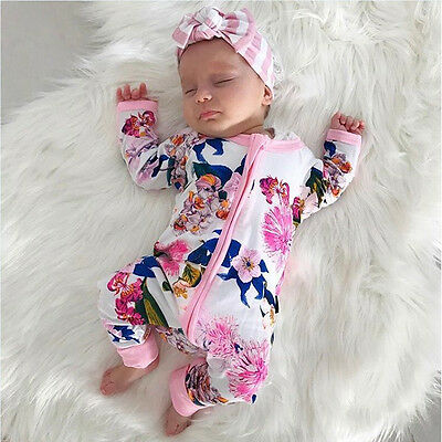 Newborn Baby Girl Boy Long Sleeve Jumpsuit Romper Bodysuit Cotton Clothes Outfit