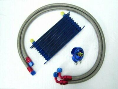10 Row AN-10AN Universal Engine Transmission Oil Cooler +Filter Adapter Hose Kit