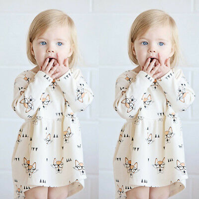 Pretty Baby Girls Dresss Toddler Kids Long Sleeve Shirt Fox Dresses Casual 0-4Y