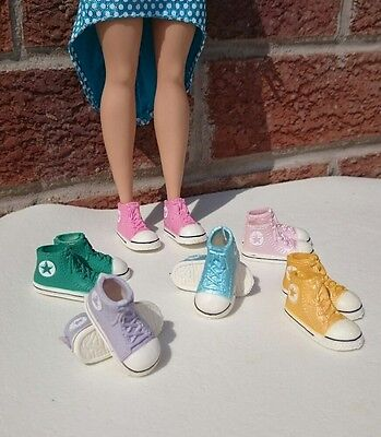 1 pair Converse style doll Shoes flat foot curvey tall barbie 1/6 Scale Blythe