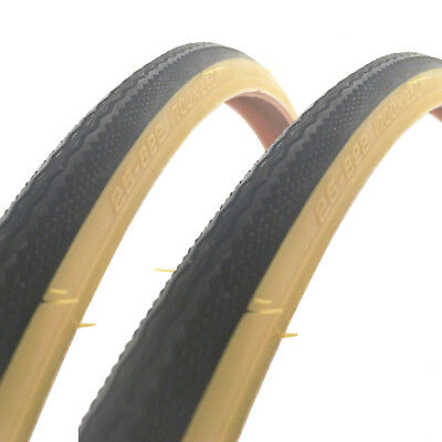 2x Raleigh CST 700 x 25c Traditional Gumwall Tan Road Bike Tyres - T1216