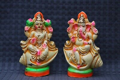 Lord Ganesha Ganesh Lakshmi Laxmi Statue On Shell Temple Indian Diwali Puja Gift