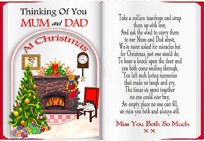 Christmas Mum & Dad Book Shaped Memorial Graveside Card & Free Holder
