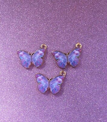 3 beautiful Enamel and goldtone butterfly charms