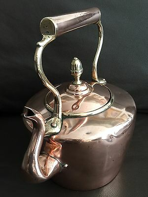 Large Antique Regency Period Hallmarked Copper Kettle With Brass Inserts