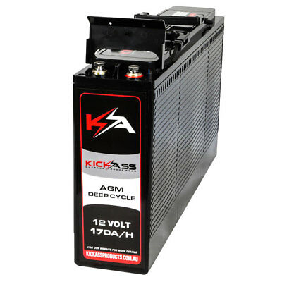 KICKASS 12V 170AH SLIM Deep Cycle AGM Battery For Camping Caravan 4X4 Dual Batte