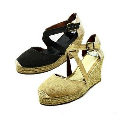 Ladies washed denim / canvas wicker wedge sandals / Shoes