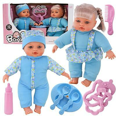 "12"" Twins Dolls with 6 Sounds Twin Babies Cuddles Baby Girl Boy New Born Doll"
