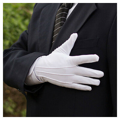 5 Pairs Men White Formal Gloves Tuxedo Honor Guard Parade Santa Inspection AU