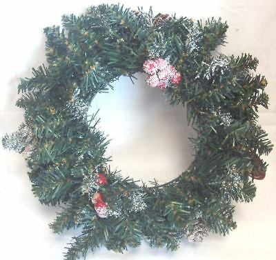 45cm Frosted Sherwood Pine Table Christmas Tree Berries Pine Cones Cross Base