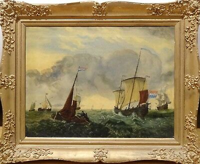 Fine 18th 19th Century Dutch School Ships Sailing Marine Oil Antique Painting