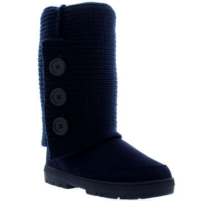 Womens 3 Button Knitted Cardy Snow Fur Lined Rain Flat Winter Boots UK 3-10