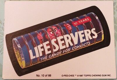 Wacky Packages Topps Life Servers Candy For Convicts Card #10 O-PEE-CHEE 1987