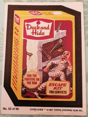 Wacky Packages Topps Duck And Hide Card #52 Series #3 O-PEE-CHEE 1987