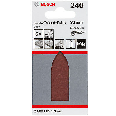 BOSCH 5 x Sanding pads for Delta sander K240 Expert for Wood and Paint 32 mm