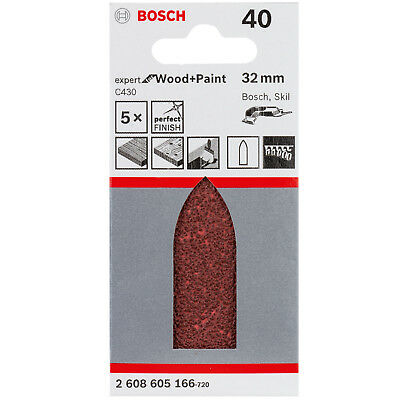 BOSCH 5 x Sanding pads for Delta sander K40 Expert for Wood and Paint 32 mm