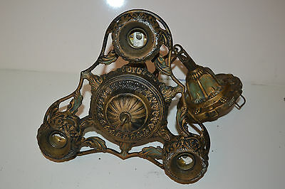 Antique Vintage Cast Iron Art Deco Hanging Ceiling Light Lamp Fixture Chandelier