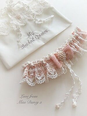 Bridal Garter and Bag Ivory Blush Pink Pearls Wedding Bridal Hen Miss Darcy
