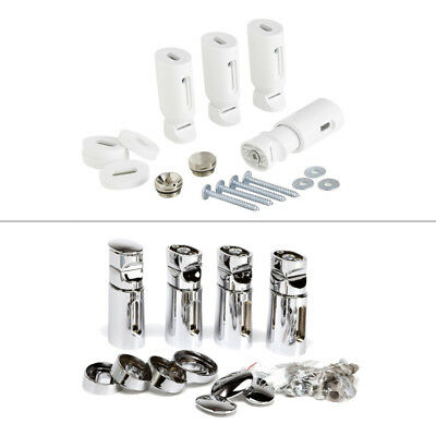 Universal Heated Towel Rail Bracket Set ; White / Chrome Radiator Fixing Kit